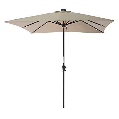 C-Hopetree Square LED Lighted Solar Patio Market Umbrella 7'6