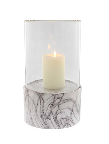 """Deco 79 60760 Cylindrical Ceramic Glass Hurricane Candle Holder, 13"""" x 8"""", Gray/White/Clear"""
