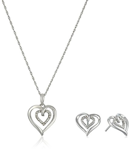(Sterling Silver and Diamond Heart Pendant Necklace and Earrings Box Set (0.02 cttw))