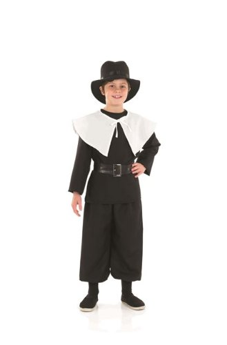 17 Century Costumes (Puritan Boy 17th Century Childs Fancy Dress Costume - XL 58inch Height)