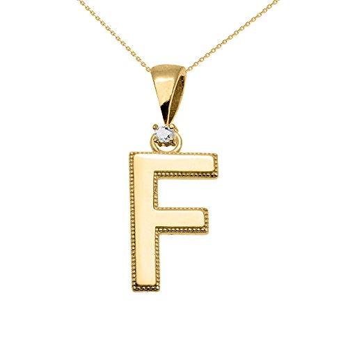 """Collier Femme Pendentif 10 Ct Or Jaune Poli Élevé Milgrain Solitaire Diamant """"F"""" Initiale (Livré avec une 45cm Chaîne)"""