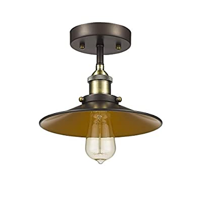 """Chloe Lighting CH854012RB09-SF1 Industrial Industrial-Style 1 Light Rubbed Bronze Semi-Flush Ceiling Fixture 9"""" Shade"""