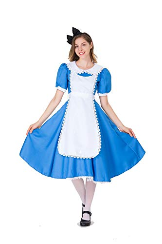 Showhole Alice in Wonderland Costume Girls Princess Dress Scary Hollween Cosplay for Women(L) Blue