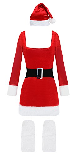 Kimring Women's Miss Claus Costume Christmas Bodycon Dress Cosplay Suit with Legwarmer Red One-size