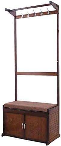 コートスタンドラックコートラック多機能ハンガーフック竹製チェンジシューズベンチハットハンドバッグシューズラックホール(175cm)ブラウン