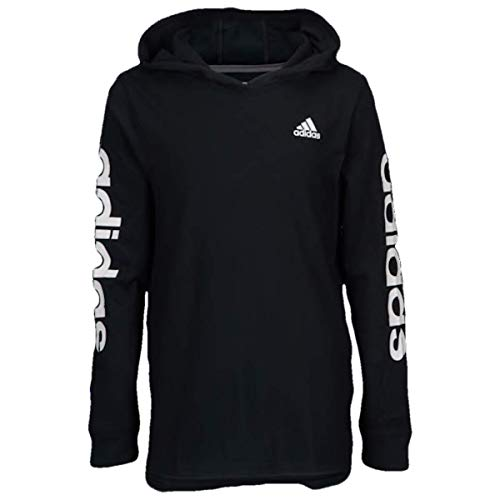 adidas Youth Boy's Logo Lite Long Sleeve Hooded Pullover Shirt (Medium(10/12), Black)