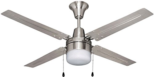 Litex E-UB48BC4C1 Urbana 48-Inch Ceiling Fan with Four Brushed Chrome Blades and Single Light Kit...