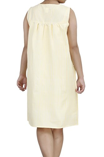 Sleeveless House up Duster8 Dress Yellow Ezi Cotton Zip Women's fSUnRxzZ