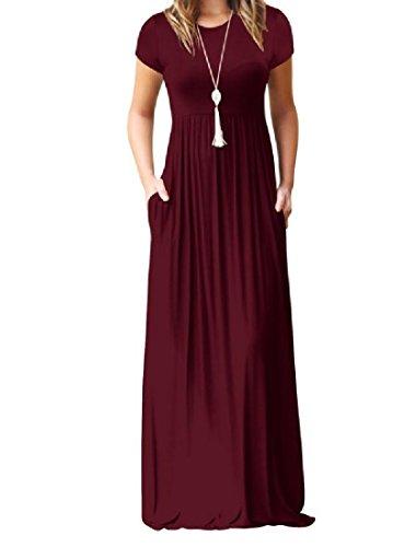 Coolred-femmes Couleur Pure Poche Taille Empire Exotique Manches Courtes Vin Robe De Soirée De Fête Décontractée Rouge