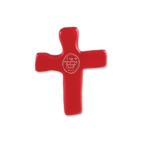 Palm Hand Squeezable Cross ~ 4 3/4 inch Hold Onto the Cross ~ Palm Red Cross ~ Christmas Gift Holidays Inspirational Faith ~ Beautiful Thoughtful Gift by KG