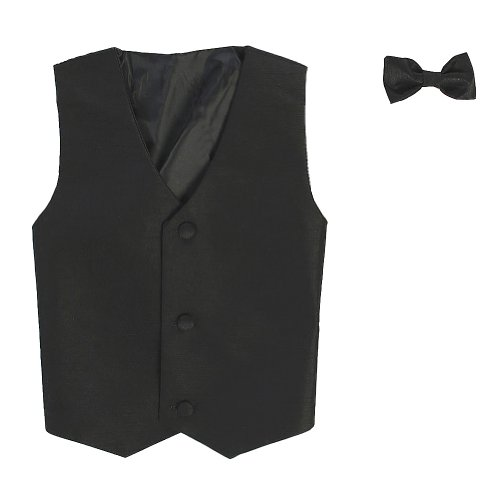 Vest and Clip On Baby Boy Bowtie set - BLACK - 2T/3T (3t Vest Boy)
