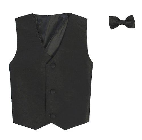 Vest and Clip On Boy Bowtie set - BLACK - 8/10 (Black Vest And Bow Tie For Boys)