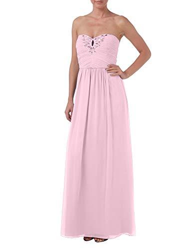 Abendkleider Rock La Marie Brautmutterkleider Steine Bodenlang mit Chiffon A Braut Linie Festlich Rosa Partykleider 6qfqIv