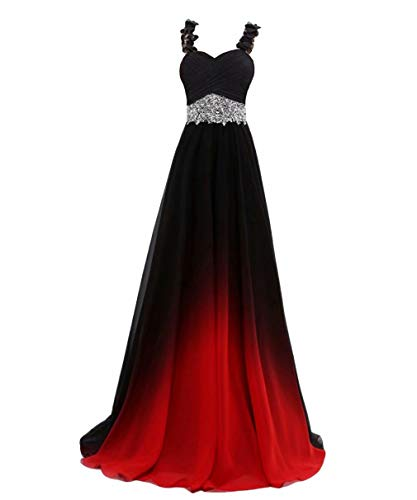 Beaded Top Gradient Color Evening Gowns Chiffon Bridesmaid Dress Black&Red E 12