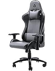 SONGMICS Gamingstoel met voetensteun, 150 kg, bureaustoel, lendenkussen, hoofdkussen, hoge rugleuning, ergonomisch, staal, kunstleer, ademend meshweefsel
