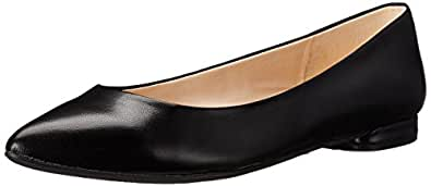 Nine West Women's Onlee Leather Ballet Flat, Black, 7.5 M US