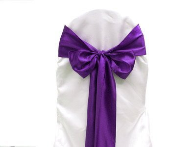 Purple Satin Wedding Chair Sash Bows