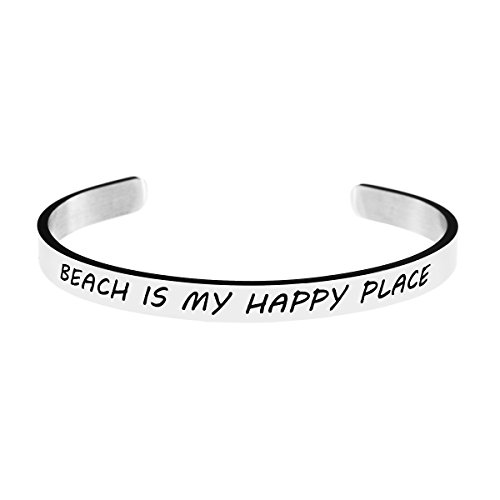 Yiyang Beach Cuff Bangle Bracelet for Best Friend Stainless Steel Open Wide Silver Plain Engraved (Beach is My Happy Place)