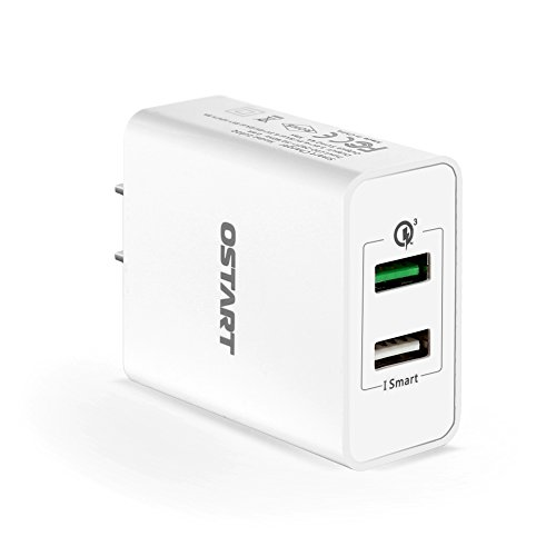 Quick Charge 3.0 30W Dual USB Wall Charger with SmartID Tech for Galaxy S7 S6 Edge, Note 5/4, LG G5 G4, HTC One 10 M9, Nexus 6, iPhone 7 SE 6S 6, iPad and More White