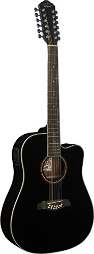 New Oscar Schmidt by Washburn OD312CE Full Size 12 String Cutaway Acoustic Electric Guitar Combo with Gig Bag and Stand, Gloss Black Finish (12 Washburn String)