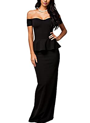 J&Design Women Peplum Drop shoulder Cocktail Party Maxi Evening Dress