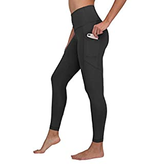 90 Degree By Reflex Power Flex Yoga Pants - High Waist Squat Proof Ankle Leggings with Pockets for Women - Black - Medium