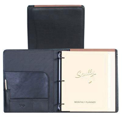 Scully Leather 3 Ring Binder Black by SCULLY ITALIA