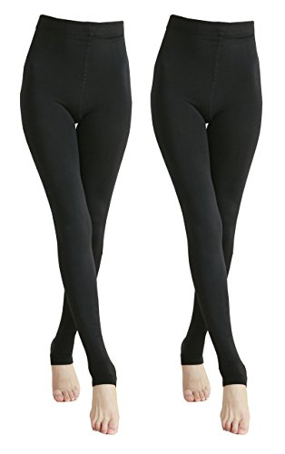 Warm Winter Tights (2 Pairs Women Winter Thick Warm Fleece Lined Thermal Stretchy Footless Tights-812-2-S/M)