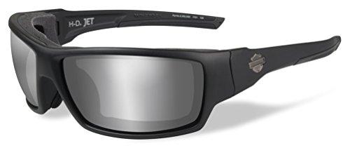 Harley-Davidson Mens Jet PPZ Silver Flash Sunglasses, Matte Black Frames HDJET07