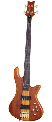 Schecter Stiletto Studio-4 Fretless Electric Bass (4 String, Honey Satin) Stiletto Custom Electric Bass
