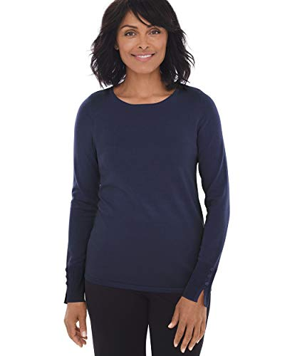 Chico's Women's Button-Sleeve Pullover Knit Sweater Top Size 4/6 S (0) Dark Blue ()