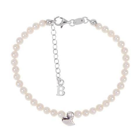 Boccadamo Bracelet avec fil de perles naturelles, cœur abstrait centrale et diamant