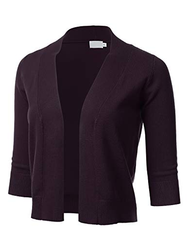 Sleeve Open Front Cardigan - FLORIA Womens Classic 3/4 Sleeve Open Front Cropped Cardigan Darkpurple M