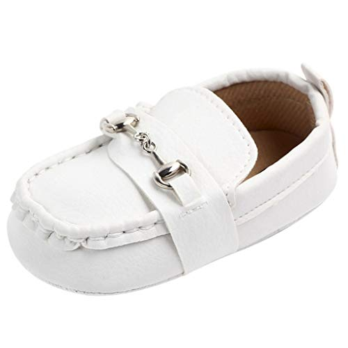Infant Moccasins - Baby Girls Boys Pu Leather Soft Sole Non-Slip First Walkers Shoes (White, Age:0-6Months/ US:3.0)