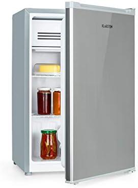 Klarstein Delaware Kühlschrank, 76 Liter Fassungsvermögen, Energieeffizienzklasse A++, 2 flexible Glasböden, Gefrierfach: 4 Liter, Flaschenfach bis 2 Liter, Silber/Grau