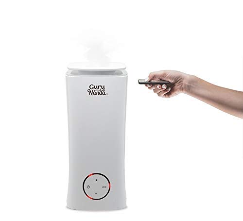 GuruNanda Tower XL, 2 in 1 Essential Oil Diffuser and Cool Mist Humidifier with Remote – Auto Shut-off, Silent and Ultrasonic Humidifier for Bedroom, Office, and Yoga Studio (2L/ 0.5Gal)