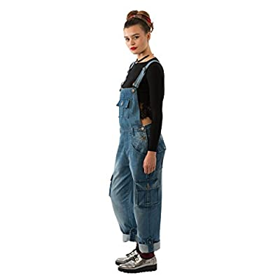 USKEES Daisy Womens Black Cotton Bib Overalls Loose Fit Roll-up Leg Overalls