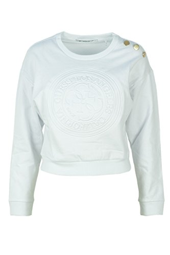 Guess Donna W83q15 Cropped Bianco Fleece Felpa K6930 447xfrw