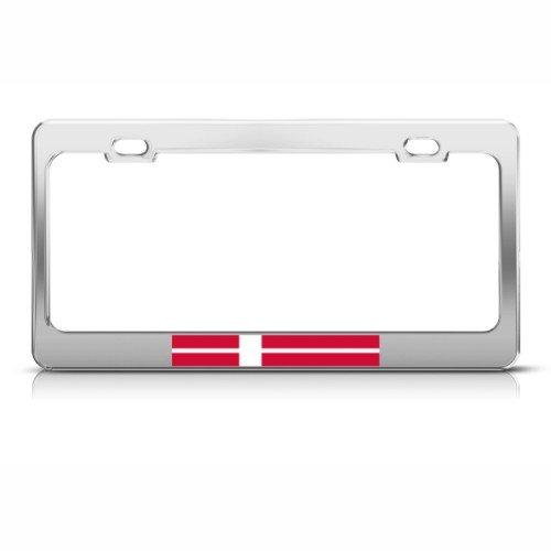 Denmark Flag Danish Country Metal License Plate Frame Tag (Denmark Country Flag)