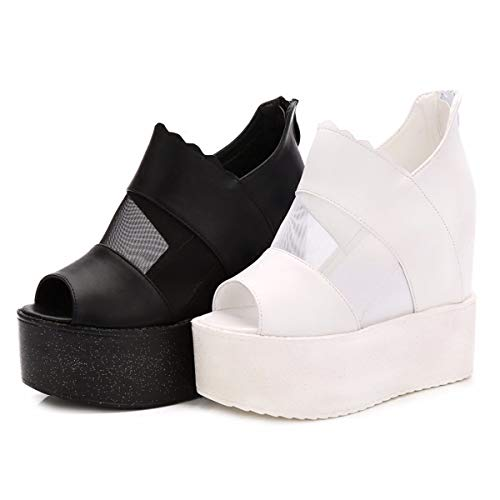 Summer white Mouth Women'S Women High Increased Shoes Muffins Thick Thin Fish Sandals Is Gauze In The SFSYDDY Heels 38 And Bottom And 5x1SaB5