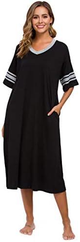 Vslarh Women's Nightgown, V Neck Loungewear Short Sleeve Sleepwear Full Length Sleep Shirt with Pockets S-XXL