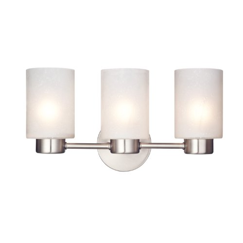 Westinghouse 6227900 Sylvestre Three Light Interior Wall Fixture Brushed Nickel Finish With Frosted Seeded Glass