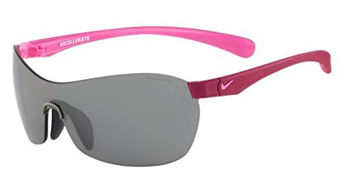 Nike Grey with Silver Flash Lens Excellerate Sunglasses, Bright Magenta/Red - Custom Nike Sunglasses