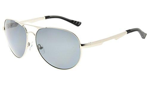 Gris monture soleil soleil Lunettes Argentee Polarisees Verre verres verres lunettes Polycarbonate Metal de style Eyekepper aviateur en IwZCnq1qx