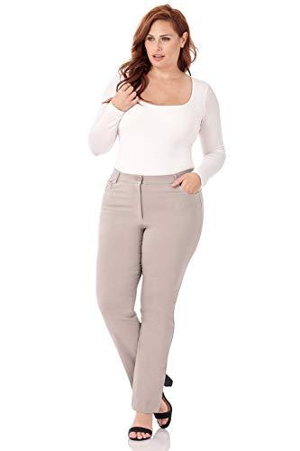 Rekucci Curvy Woman 5 Pocket Straight Leg Plus Size Pant w/Zipper ()