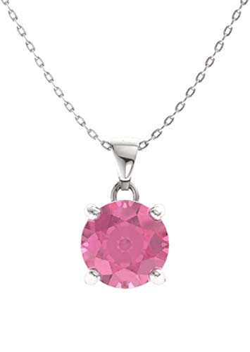 (Diamondere Natural and Certified Pink Tourmaline Solitaire Petite Necklace in 14k White Gold | 0.42 Carat Pendant with Chain)