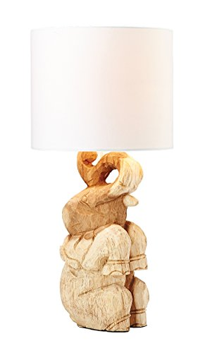 Carved Library - O'THENTIQUE Hand Carved Wooden Elephant Table Lamp | Handmade Solid Wood Carving with White Round Shade Cute and Perfect for Coastal Nautical Rustic Home Decor Living Bedroom Kids Room Library