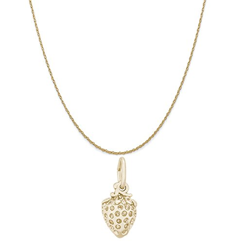 Rembrandt Charms 14K Yellow Gold Strawberry Charm on a 14K Yellow Gold Rope Chain Necklace, 20