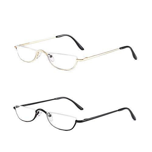 - Half Frame Reading Glasses Set of 2 Pairs Half Rim Metal Frame Glasses Spring Hinge Readers with Leather Pouch for Men and Women, 1.50 Strength Black+Gold