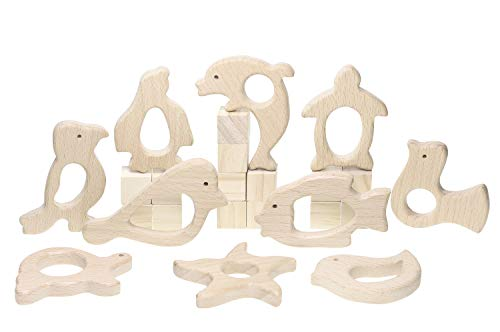 10Pcs Baby Wood Teething Rings Pain Relief Natural Wood Teething Toys Wooden Teether Animals for Infant Toddler, Turtles Swallows Dolphins Starfish Pigeons Birds Woodpeckers Fish Turtles Sea Lions